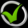 Green Tick Circled Shows Quality And Excellence