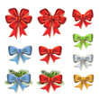 Christmas bows in different colors on white