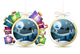 Christmas with gifts and Santa sleigh in hanging ball