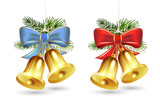 Christmas golden bells with red and blue bows