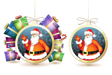 Christmas with gifts and Santa in hanging ball