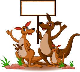 funny family kangaroo cartoon with blank board