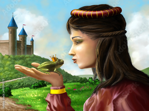 Deurstickers Kasteel Frog prince