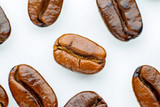 Coffee beans roasted in white background