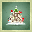 Merry Christmas vintage design background, vector