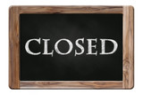 closed word on blackboard