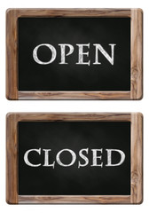 open and closed words on blackboard