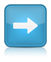 Blue glossy web button with arrow right sign.