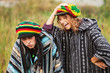 Young rastafarian couple on nature