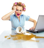 Angry business woman with chaos on workspace. Dirty desktop poster