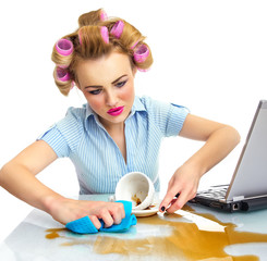 Funny business woman cleaning desktop. Dirty workspace