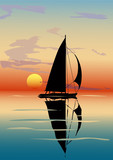 Dusk, sea, sailboat