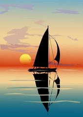 Dusk, sea, sailboat