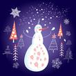 Christmas card with a snowman