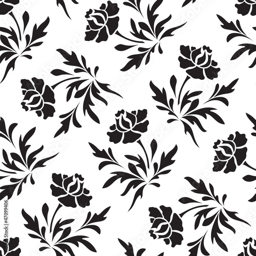 Deurstickers Bloemen zwart wit Black and white seamless floral pattern