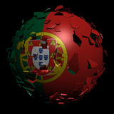 Portugal flag sphere breaking apart illustration