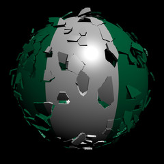 Nigeria flag sphere breaking apart illustration