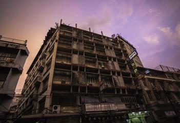 Dawn and old building in Bangkok suburbs, Thailand