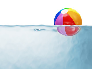Colorful Beach Ball in Water