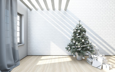 Christmas Tree On A White Brick Wall