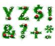 Grass letters y, z, symbols