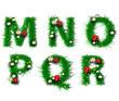 Grass letters m, n, o, p, q, r,