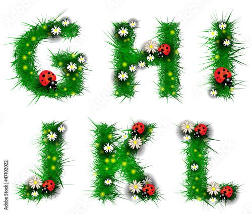 Grass letters g, h, i, j, k, l