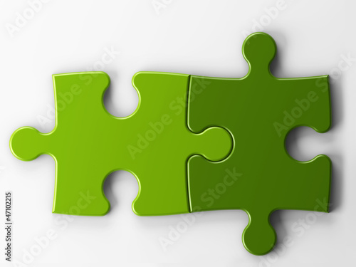 two puzzle pieces with clipping path