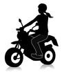 ミニバイクに乗る女性