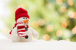Cute Snowman Over Abstract Background