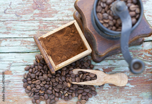 coffee on a wooden bench