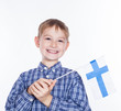 A little boy with finish flag on the white background