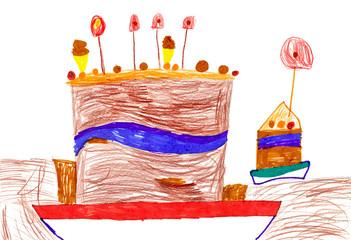 children's drawing. Big cartoon birthday cake