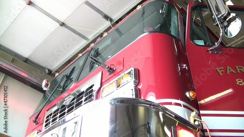 Fire Truck Front Lights Flashing in Station