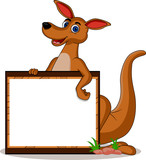 kangaroo with blank board