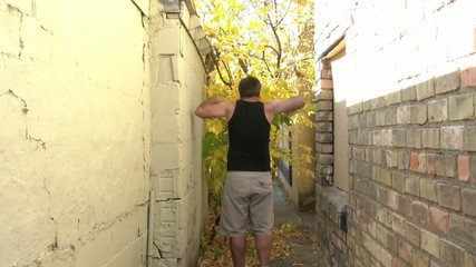 Angry Man Frustrated Kicking Wall