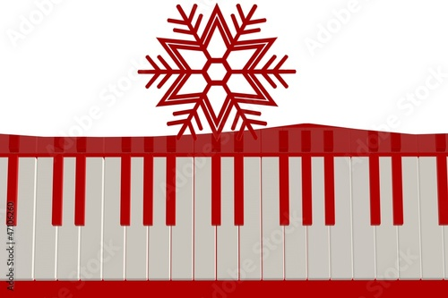 Red keys on the red piano with a snow piece and a red snowflake