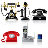 Telephone sets of different epoch