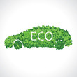 Eco car made of green leaves concept