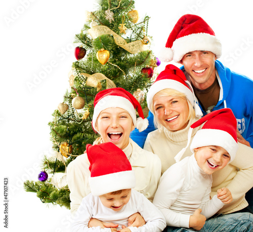 Happy Christmas Family. Big Family with Kids