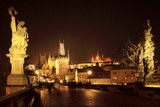 Prague gothic Castle with Charles Bridge in the Night, Czech