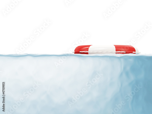 Red Lifebelt in Water isolated on white background