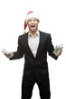 screaming businessman in santa hat holding money