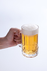 beer poured into a jug