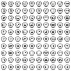 100 Vektor Buttons Icon Set Silber