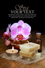 Spa aromatherapy and natural soap bar with orchids
