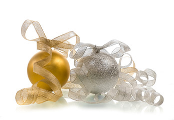 xmas ball and ribbons on a white background