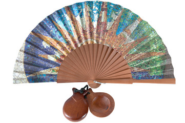 fan and castanets on a white background