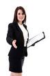 Junge Geschäftsfrau mit Vertrag begrüsst freundlich