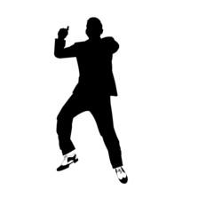 man dancing gangnam style in silhouette